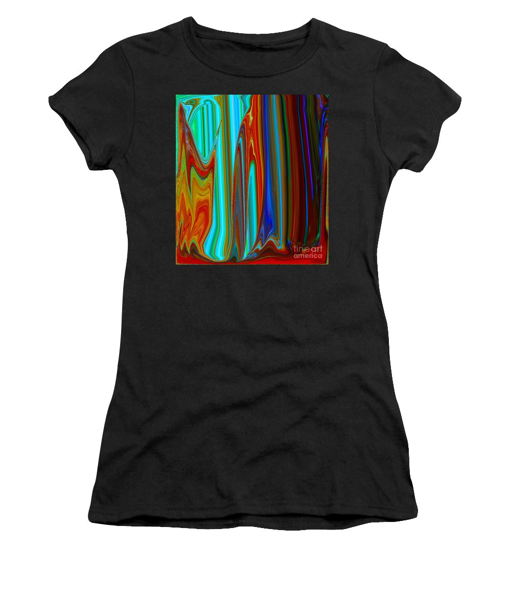Painting-abstract Acrylic Women's T-Shirt (Athletic Fit) featuring the mixed media The Queen's Closet #1 by Catalina Walker