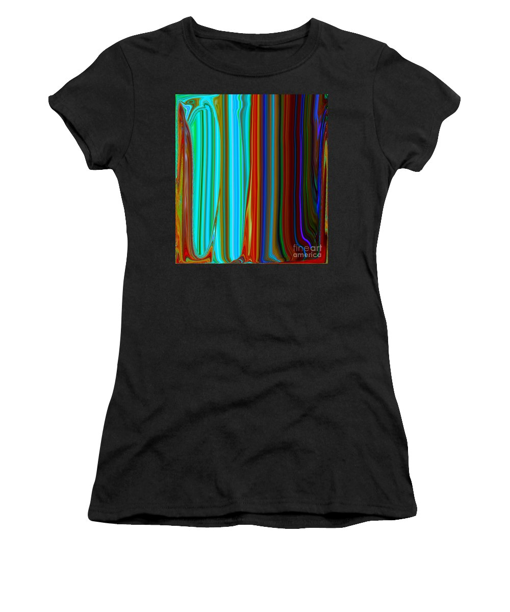 Painting-abstract Acrylic Women's T-Shirt (Athletic Fit) featuring the mixed media The Queen's Closet #2 by Catalina Walker