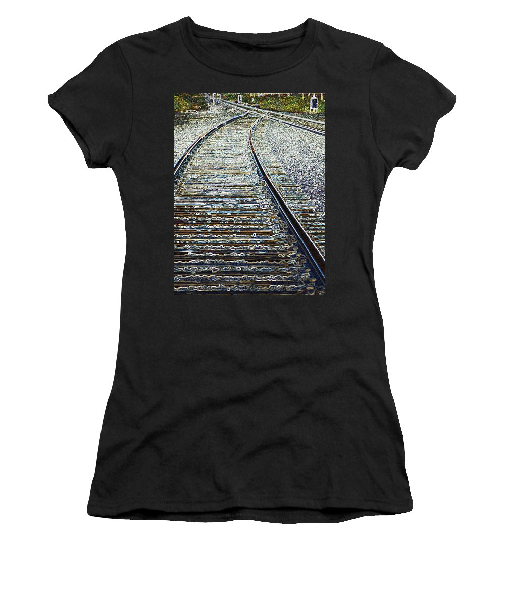 Rail Women's T-Shirt (Athletic Fit) featuring the photograph The Rails Edge by Tim Allen