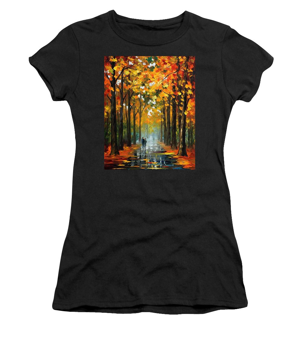 Afremov Women's T-Shirt (Athletic Fit) featuring the painting The Rain Is Gone by Leonid Afremov