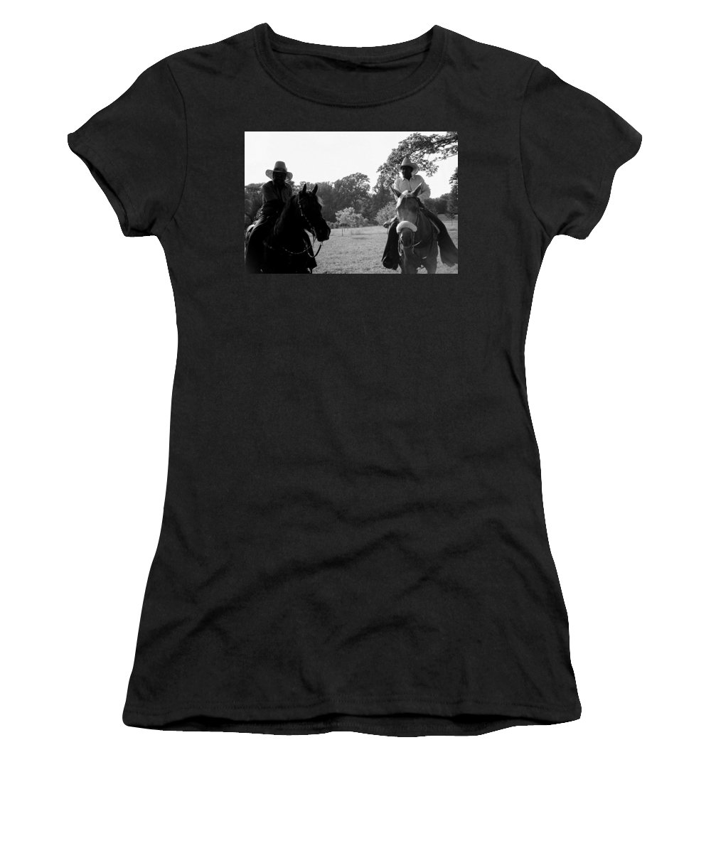 Men Women's T-Shirt (Athletic Fit) featuring the photograph The Real Cowboys by Deborah Crew-Johnson
