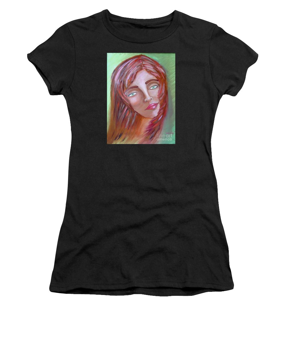 Redheads Women's T-Shirt (Athletic Fit) featuring the painting The Redhead by Laurie Morgan