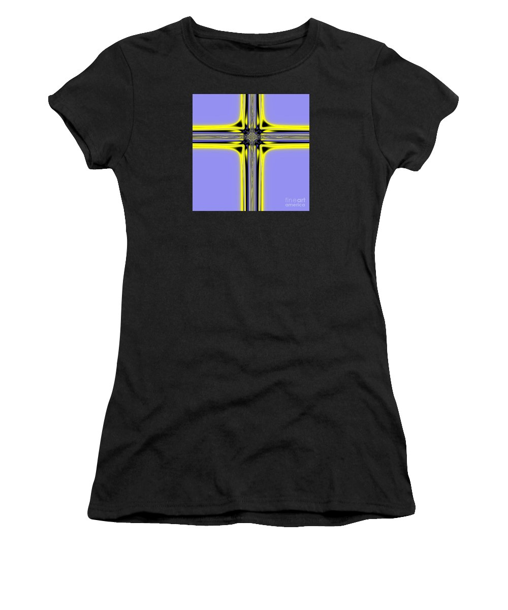 Resurrection Women's T-Shirt (Athletic Fit) featuring the digital art The Resurrection Cross Fractal 62 by Rose Santuci-Sofranko