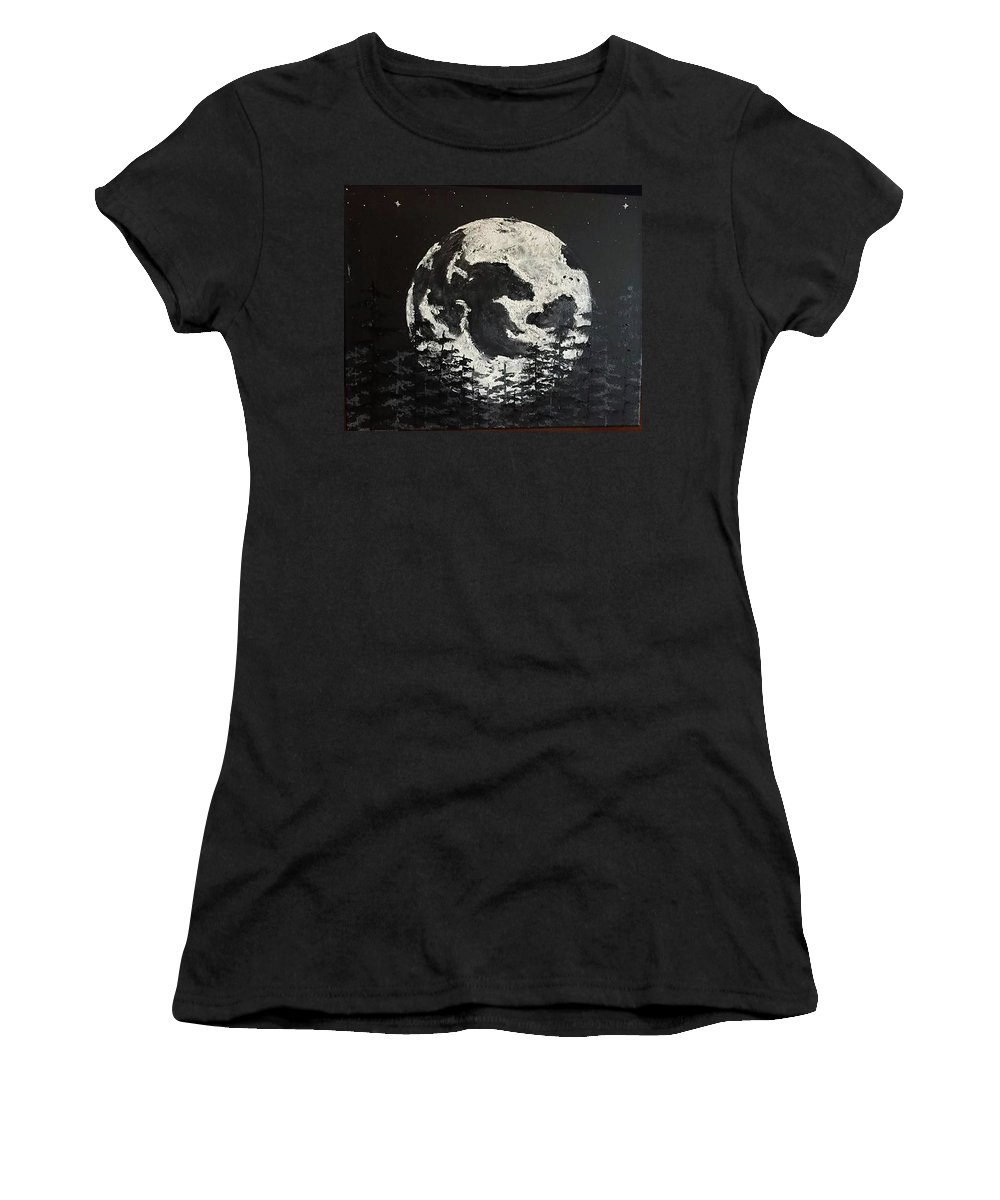 #moon #stars #space #astronomy #trees #montanaartist Women's T-Shirt featuring the painting The Rise Of The Full Moon by Sarah Kleinhans