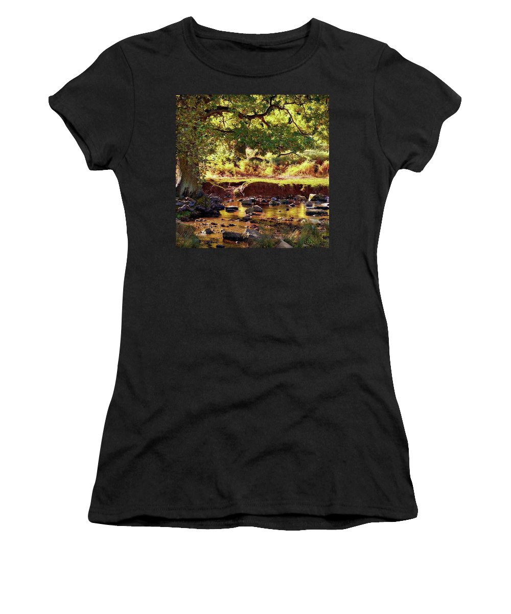 Linvalley Women's T-Shirt featuring the photograph The River Lin , Bradgate Park by John Edwards