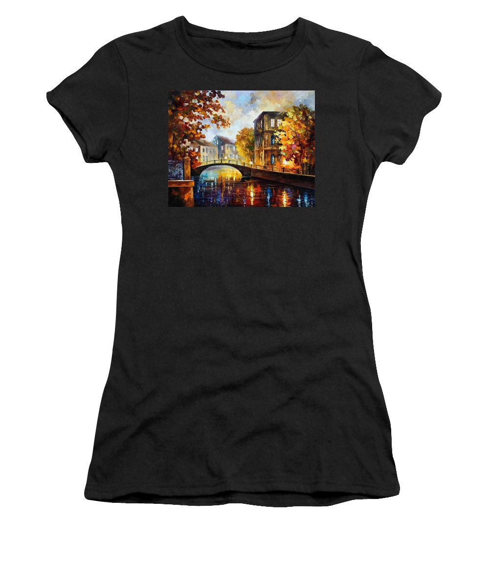 Afremov Women's T-Shirt (Athletic Fit) featuring the painting The River Of Memories by Leonid Afremov