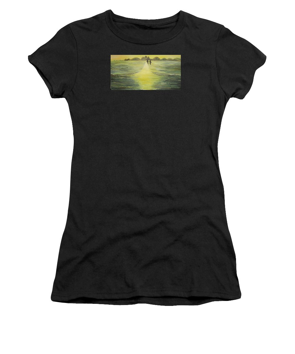 Soul Women's T-Shirt (Athletic Fit) featuring the painting The Road In The Ocean Of Light by Karina Ishkhanova