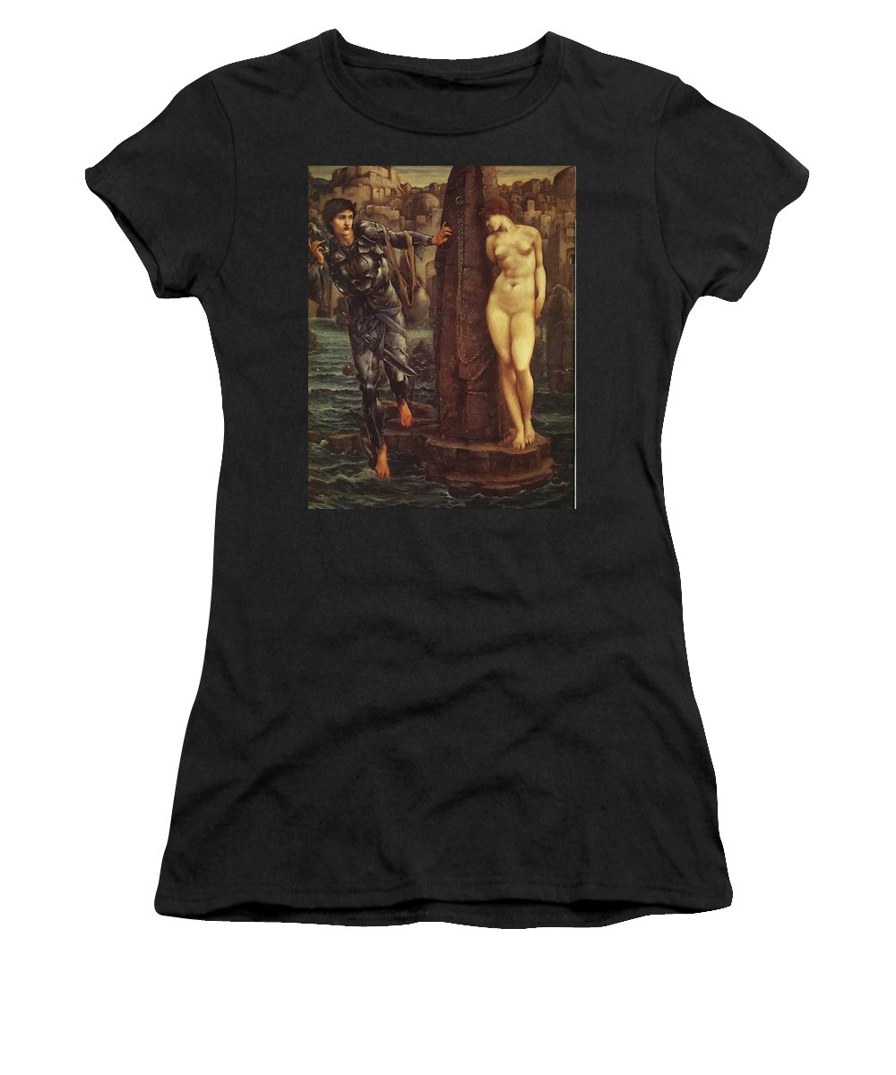 The Women's T-Shirt (Athletic Fit) featuring the painting The Rock Of Doom 1888 by BurneJones Edward