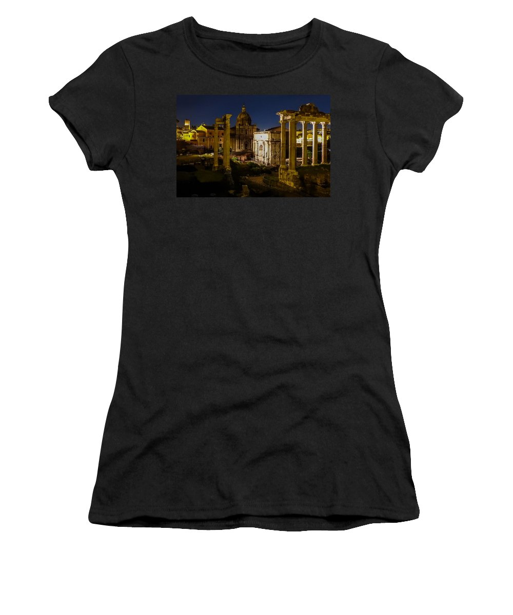Italy Women's T-Shirt featuring the photograph The Roman Forum At Night by Marilyn Burton