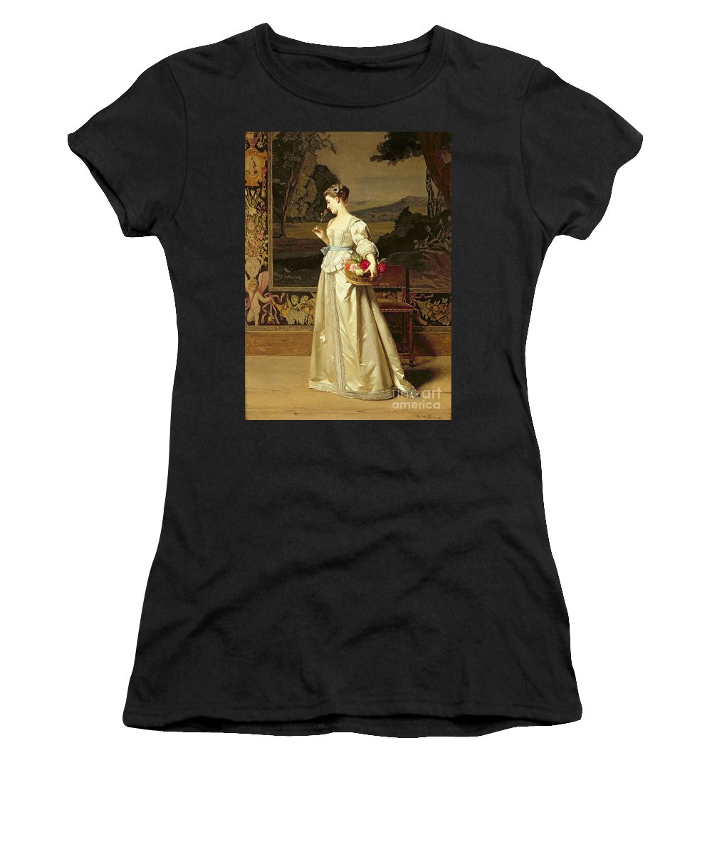 Interior; Female; White Dress; Roses; Tapestry; Victorian; Classical; Floorboards; Smelling Flower; Flowers; Satin Women's T-Shirt featuring the painting The Rose Basket by Florent Willems