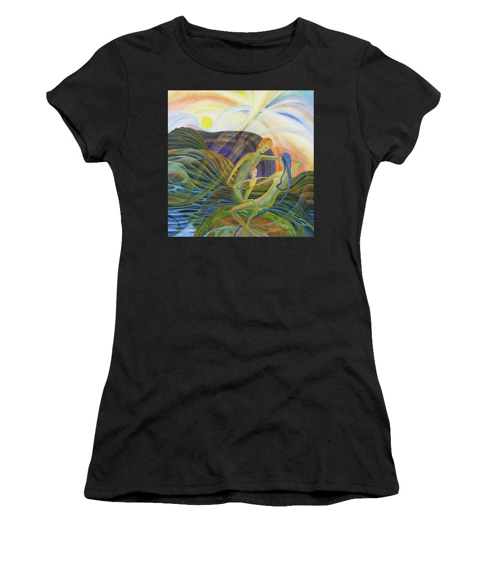 Mark Fine Art Women's T-Shirt (Athletic Fit) featuring the drawing The Round by Mark Johnson