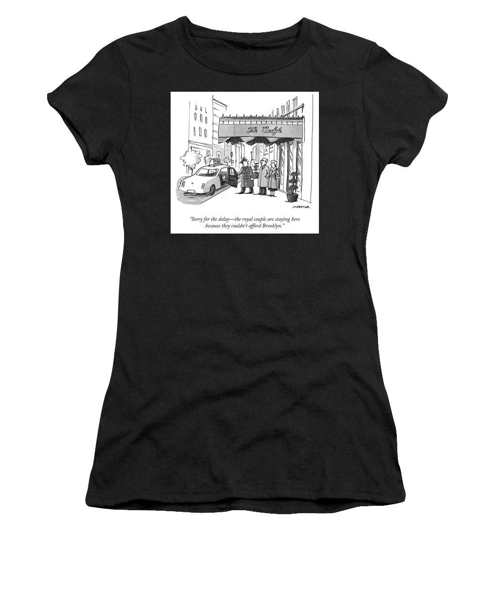 """""""sorry For The Delay—the Royal Couple Are Staying Here Women's T-Shirt (Athletic Fit) featuring the drawing The Royal Couple Are Staying Here by Joe Dator"""