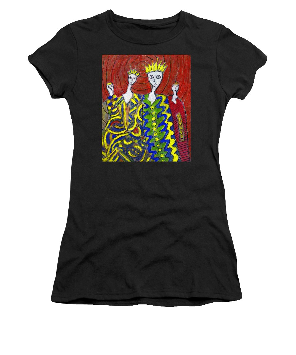 Abstract Women's T-Shirt (Athletic Fit) featuring the painting The Royal Sisters by Wayne Potrafka