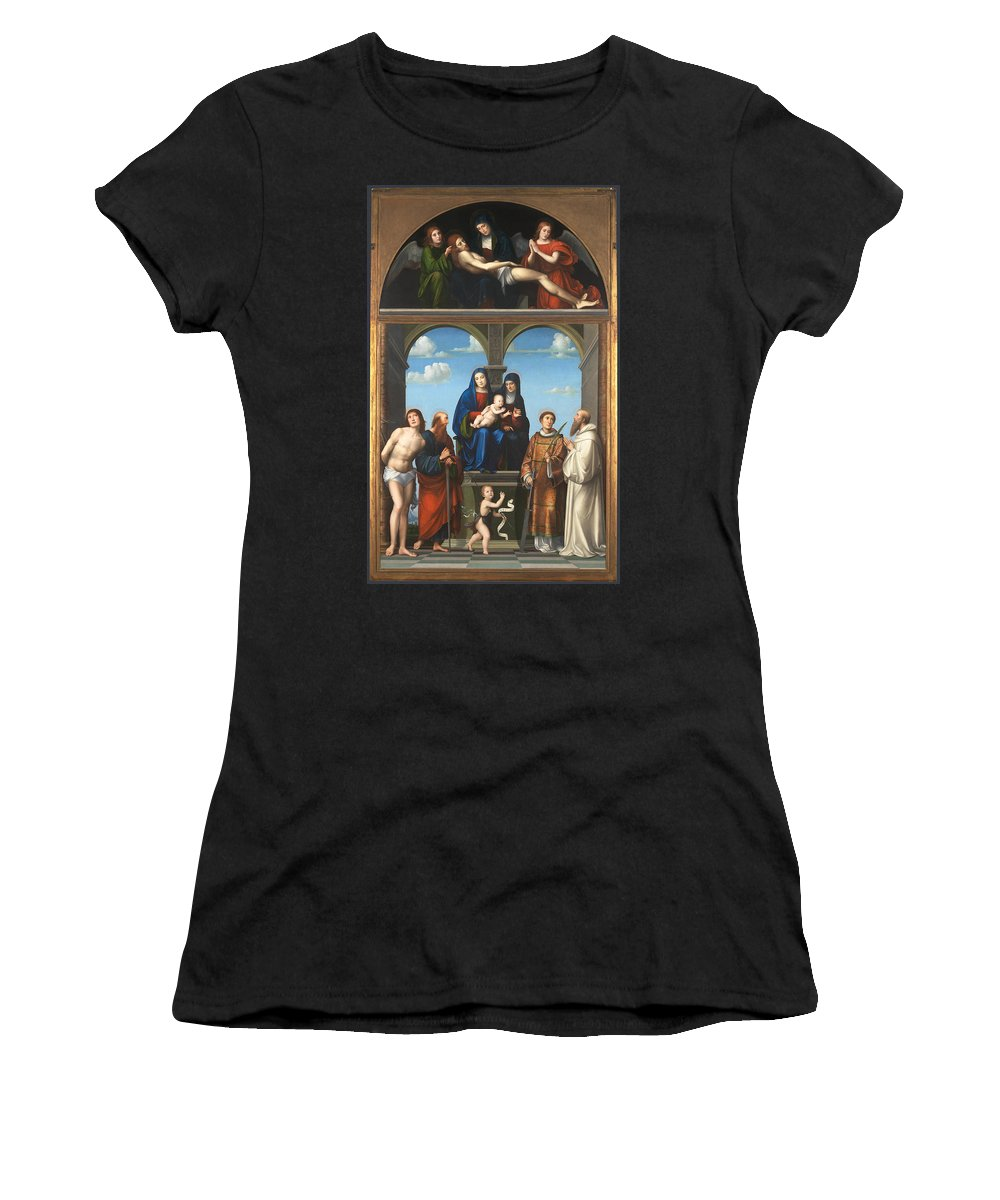 Francesco Women's T-Shirt (Athletic Fit) featuring the digital art The Saint Anne Altarpiece From San Frediano Lucca by PixBreak Art