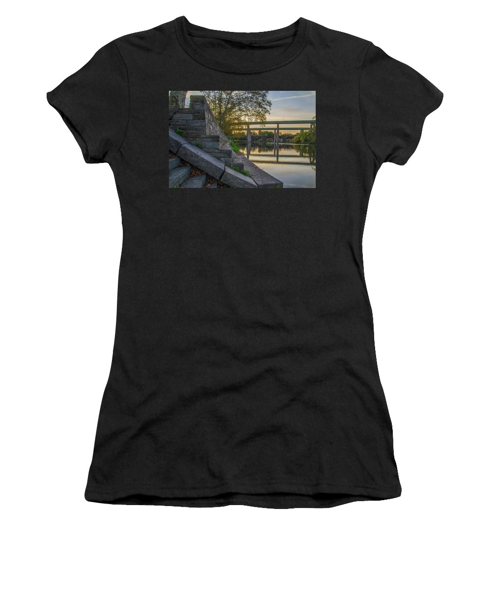 The Women's T-Shirt (Athletic Fit) featuring the photograph The Schuylkill Steps - East Falls - Philadelphia by Bill Cannon