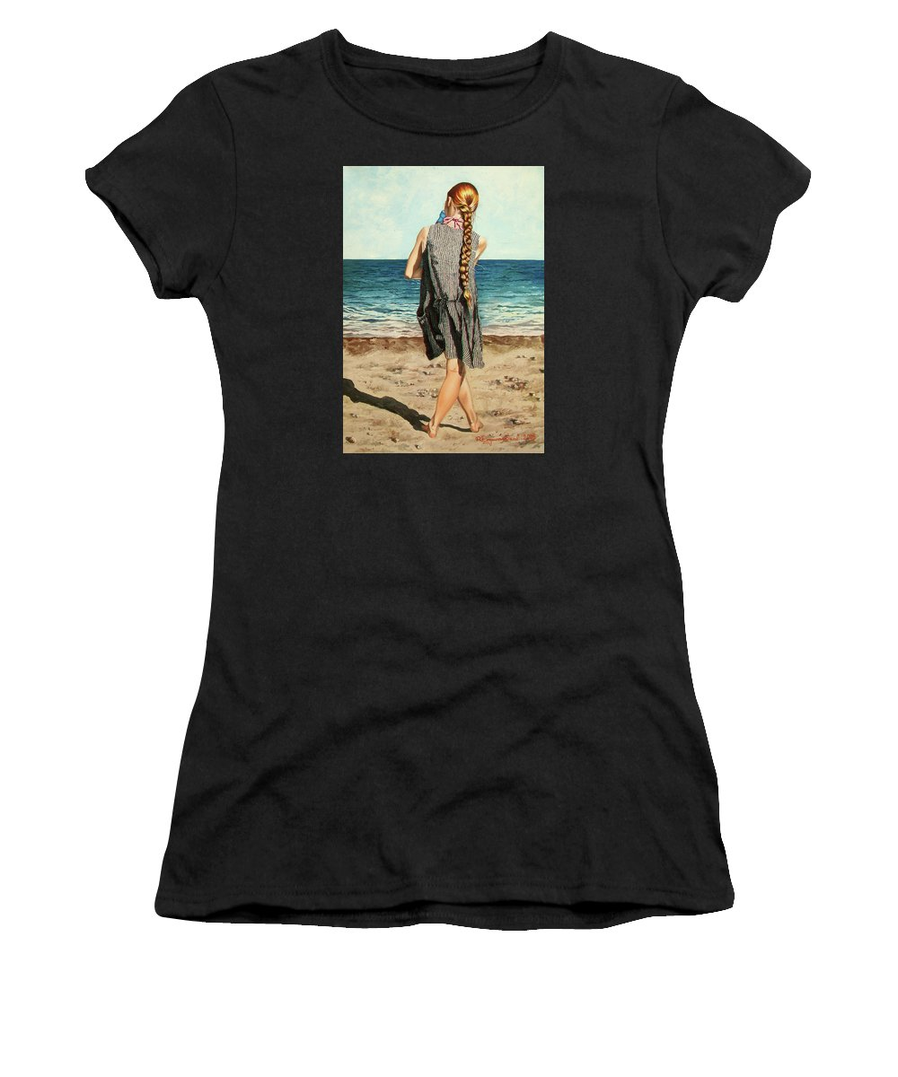 Sea Women's T-Shirt (Athletic Fit) featuring the painting The Secret Beauty - La Belleza Secreta by Rezzan Erguvan-Onal