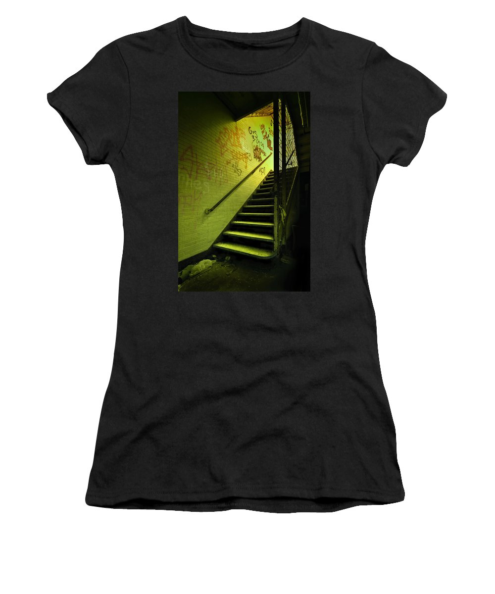 Stair Women's T-Shirt featuring the photograph The Shining Darkness by Evelina Kremsdorf