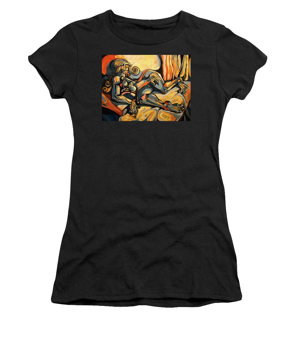 Surrealism Women's T-Shirt (Athletic Fit) featuring the painting The Sleeping Muse by Darwin Leon