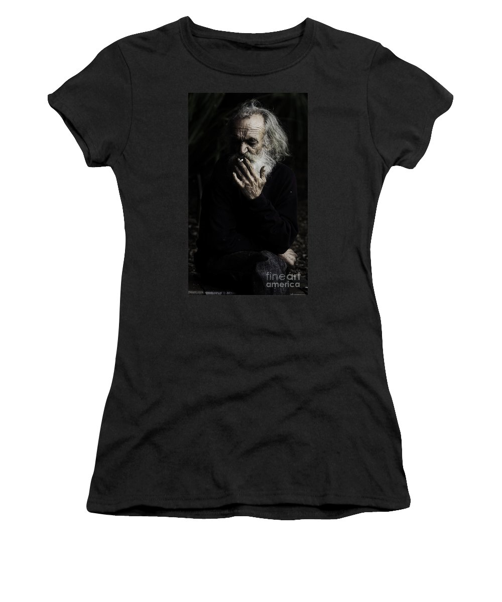 Homeless Male Smoking Smoker Aged Women's T-Shirt (Athletic Fit) featuring the photograph The Smoker by Sheila Smart Fine Art Photography
