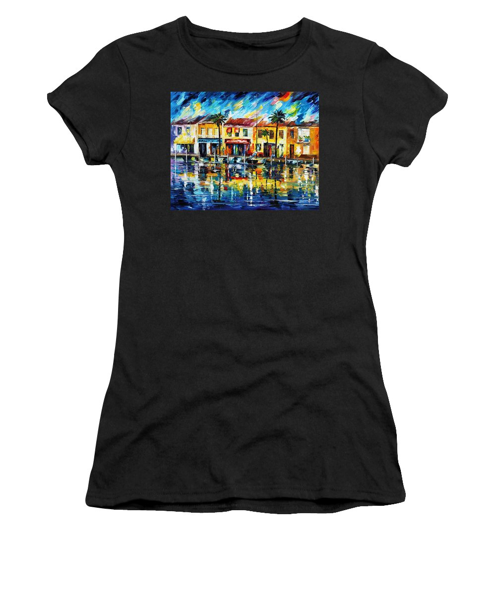 Afremov Women's T-Shirt (Athletic Fit) featuring the painting The Spirit Of Miami by Leonid Afremov