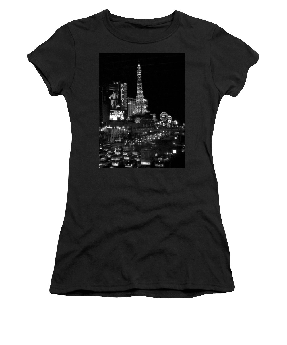 Las Vegas Strip Women's T-Shirt (Athletic Fit) featuring the photograph The Strip By Night B-w by Anita Burgermeister