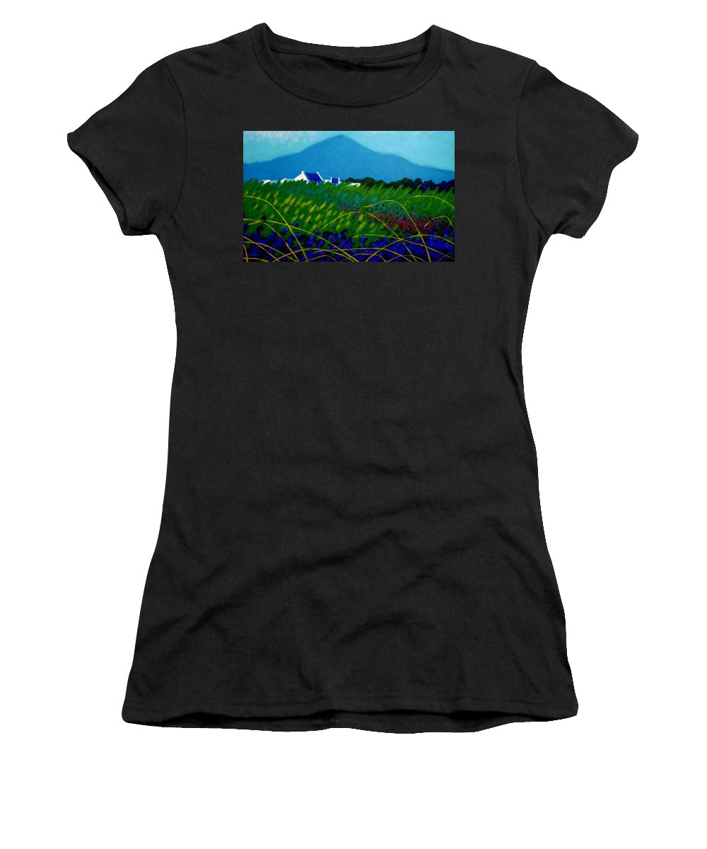 Irish Landscape Women's T-Shirt (Athletic Fit) featuring the painting The Sugar Loaf County Wicklow Ireland by John Nolan