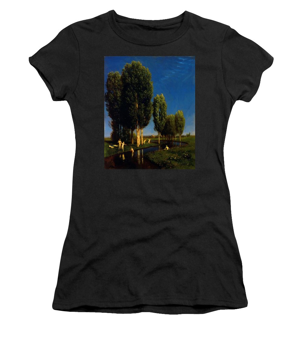 The Women's T-Shirt (Athletic Fit) featuring the painting The Summer Day 1881 by Bocklin Arnold