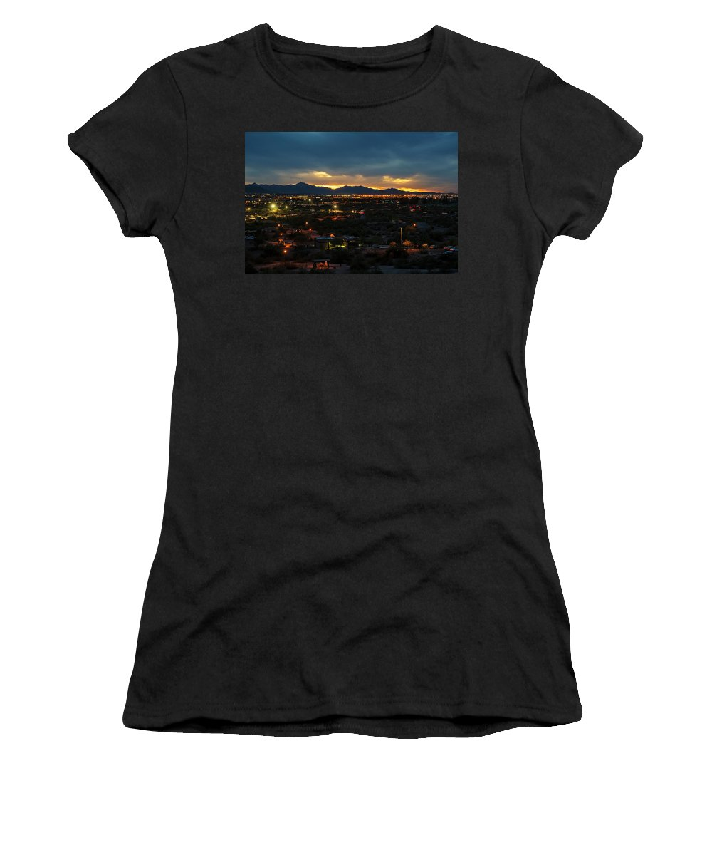 Phoenix Women's T-Shirt (Athletic Fit) featuring the photograph The Sunset From Popago Park Phoenix Arizona Az Golden by Toby McGuire
