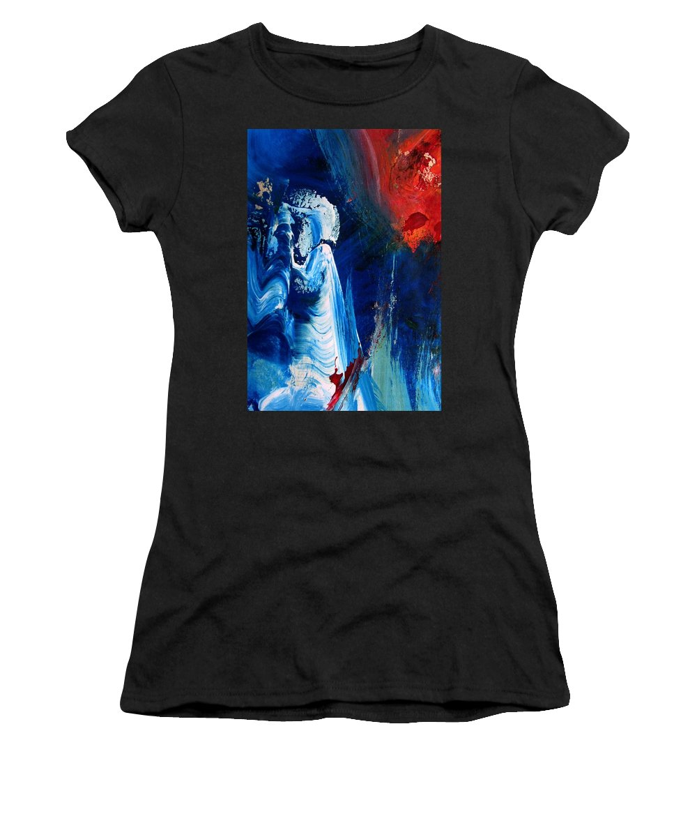 Red Women's T-Shirt (Athletic Fit) featuring the painting The Sweeper by Melody Horton Karandjeff