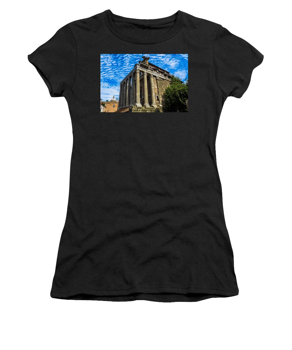 Italy Women's T-Shirt featuring the photograph The Temple Of Antoninus And Faustina by Marilyn Burton