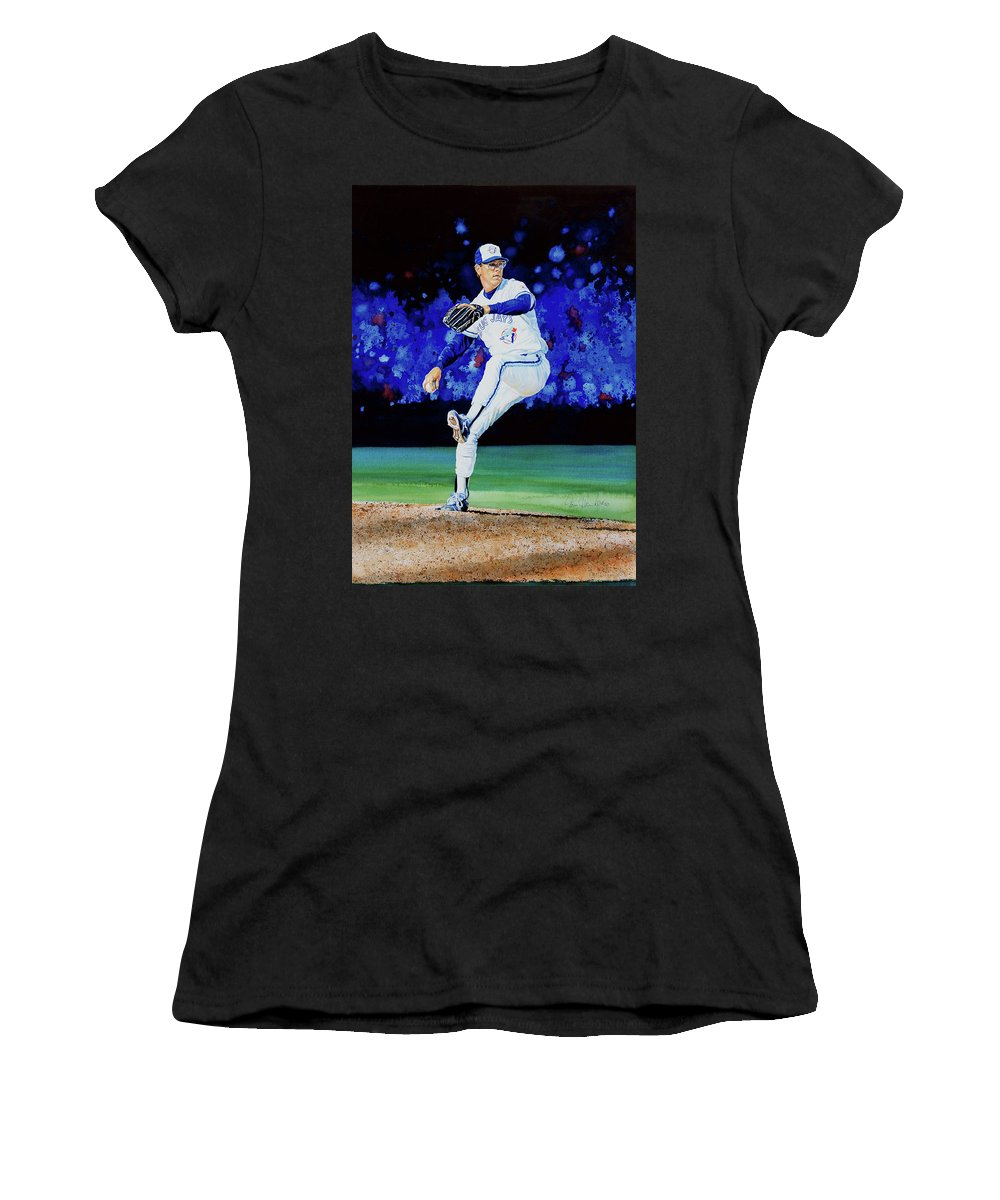 Sports Women's T-Shirt (Athletic Fit) featuring the painting The Terminator by Hanne Lore Koehler
