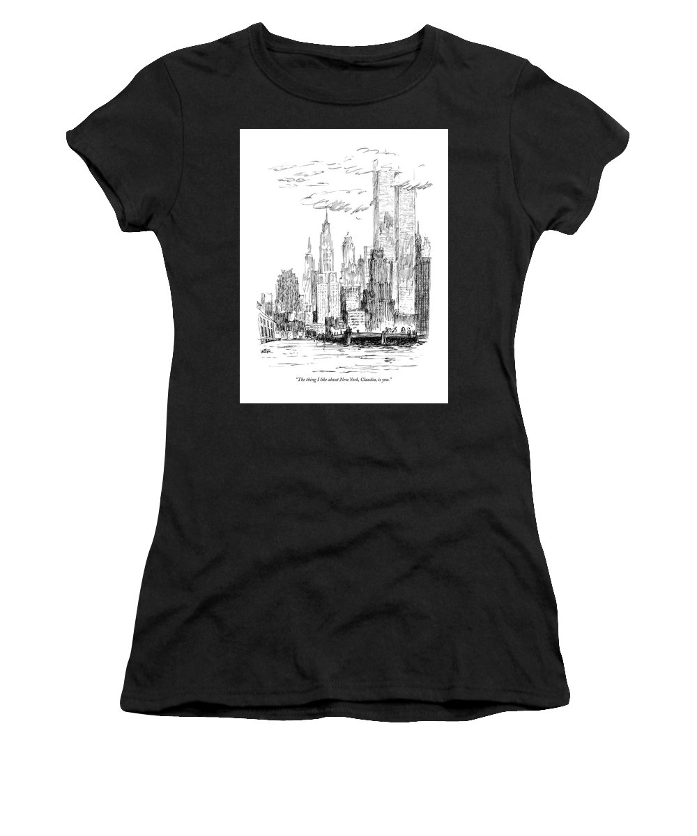 Nyc Women's T-Shirt featuring the drawing The Thing I Like About New York by Robert Weber