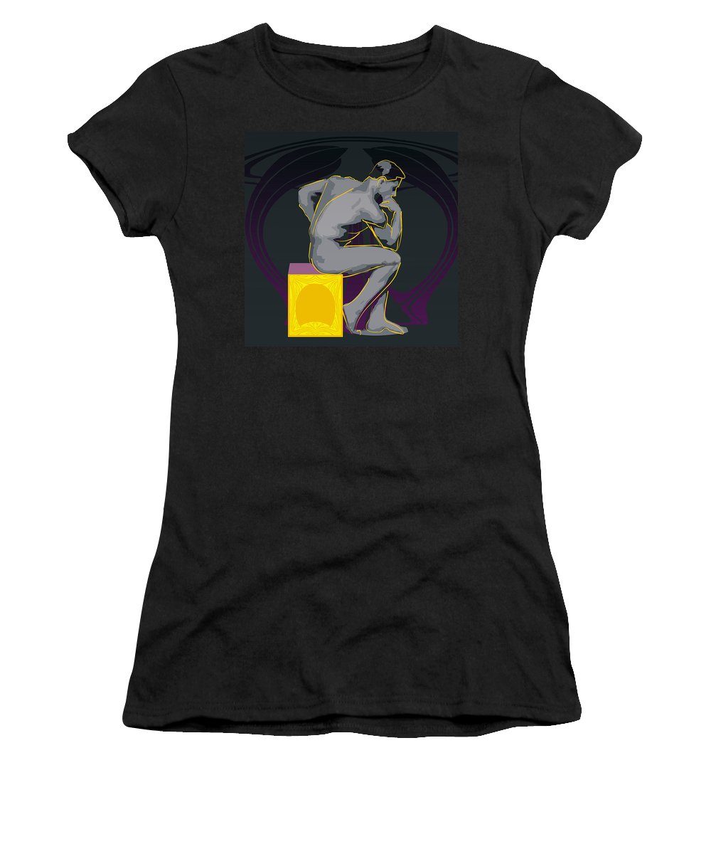 The Thinker Women's T-Shirt featuring the digital art The Thinker - El Pensador by Quim Abella