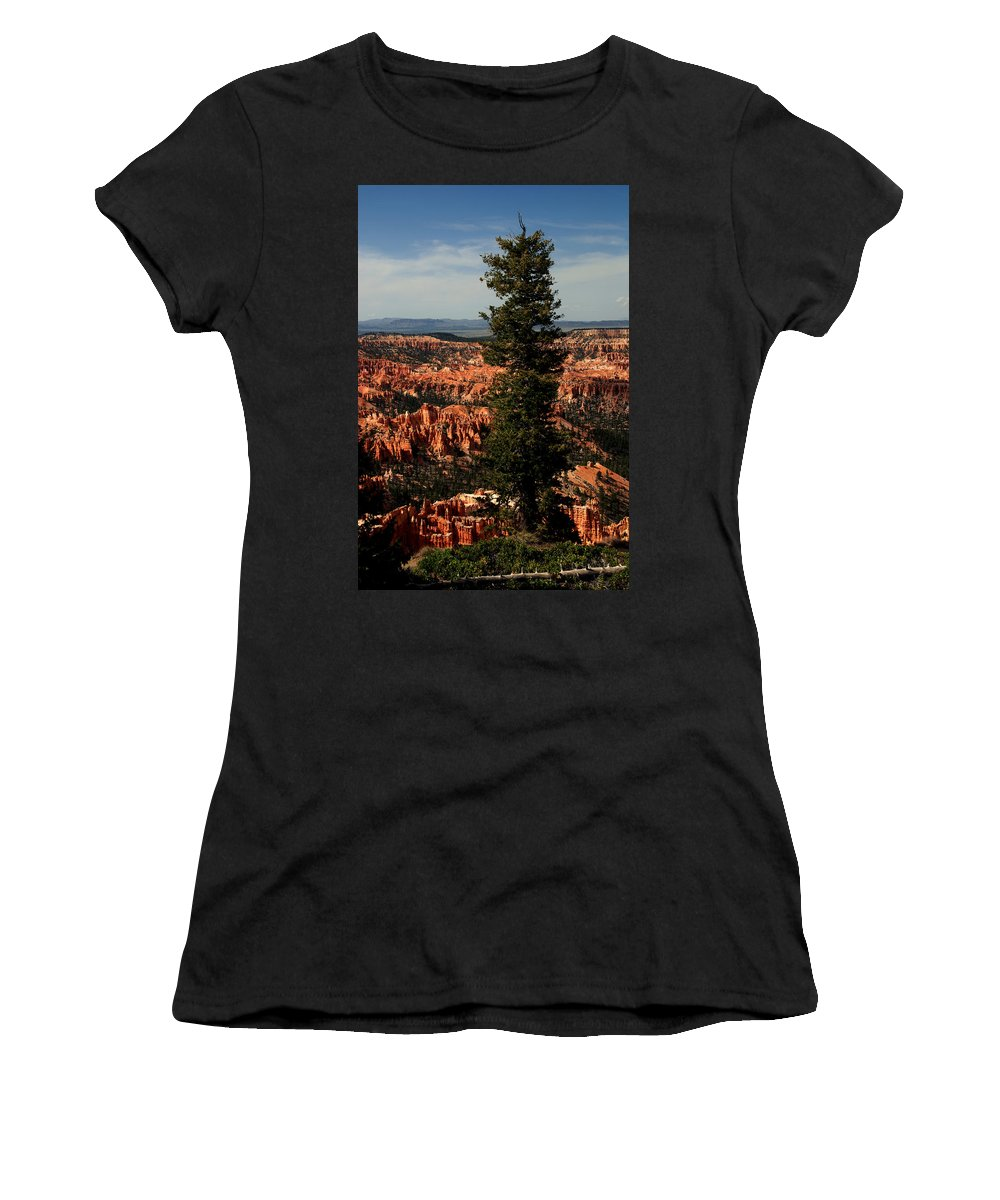 Bryce Canyon Women's T-Shirt (Athletic Fit) featuring the photograph The Tree In Bryce Canyon by Susanne Van Hulst