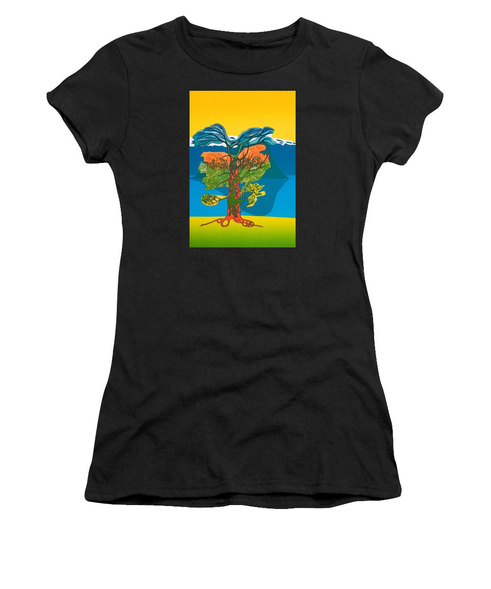 Landscape Women's T-Shirt (Athletic Fit) featuring the mixed media The Tree Of Life. From The Viking Saga. by Jarle Rosseland