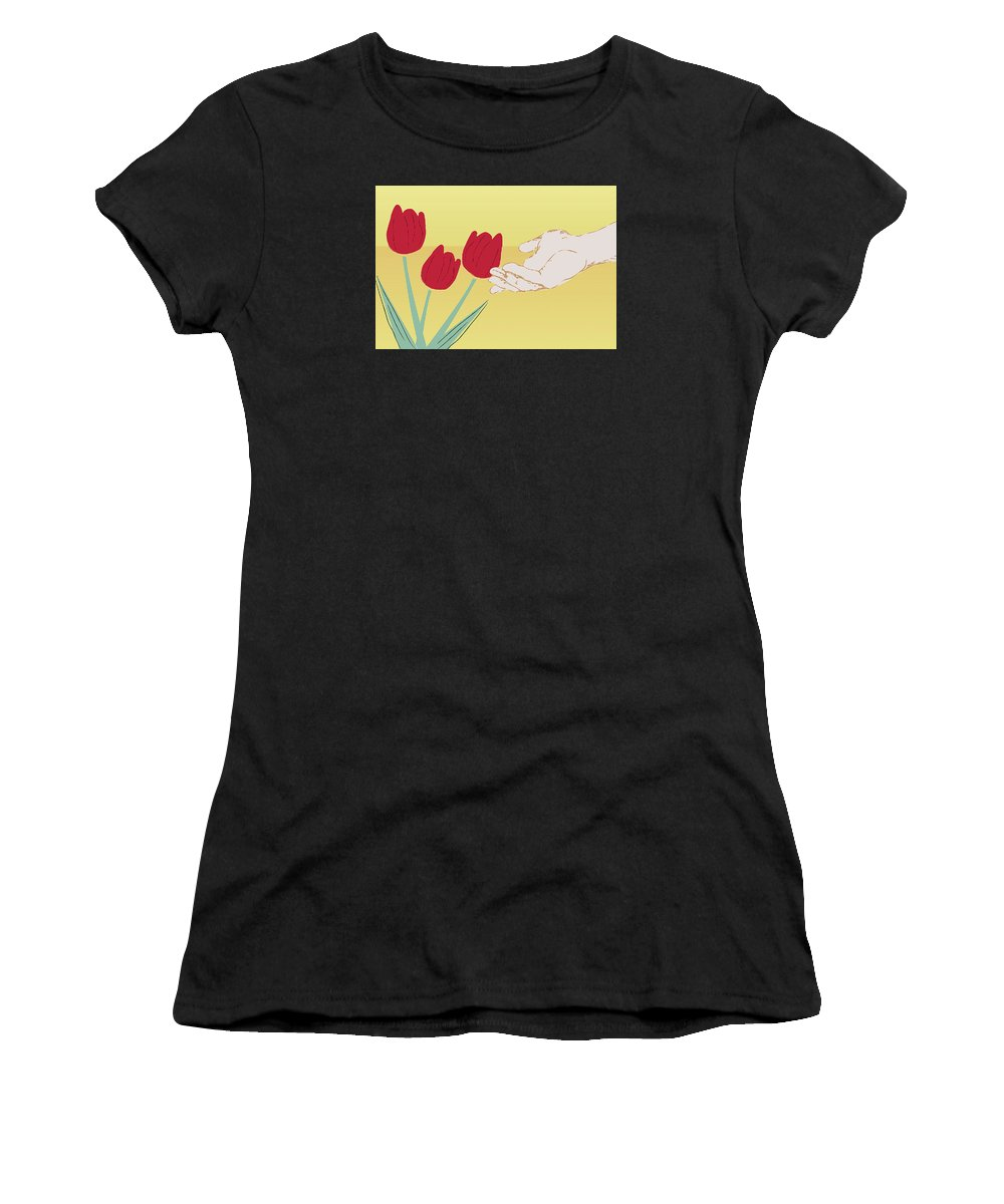 Green Women's T-Shirt (Athletic Fit) featuring the digital art The Tulips by Milena Ilieva