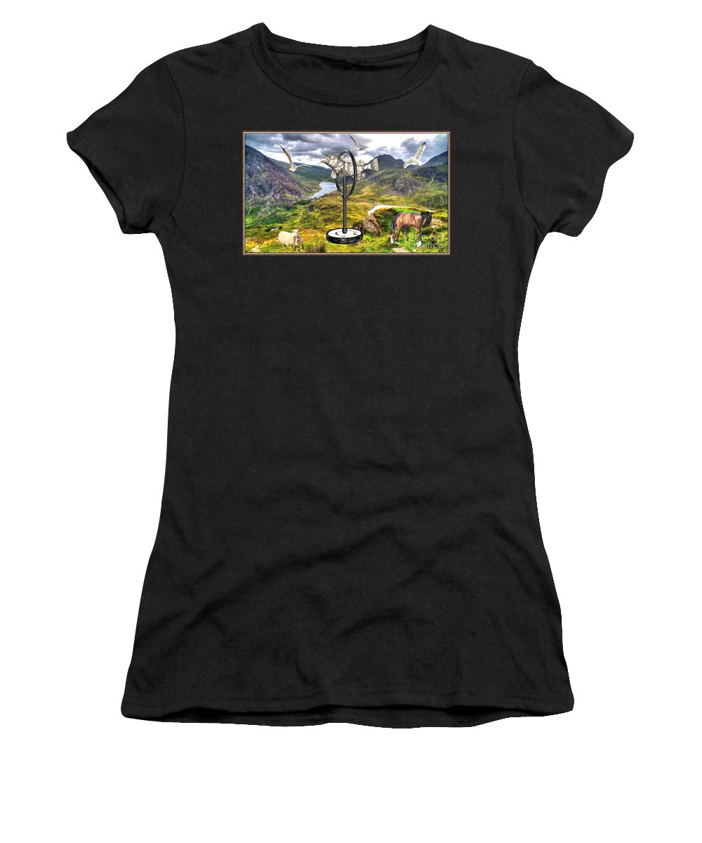 Modern Painting Women's T-Shirt (Athletic Fit) featuring the mixed media The Unimaginable Dream Of The Fish 2 by Pemaro