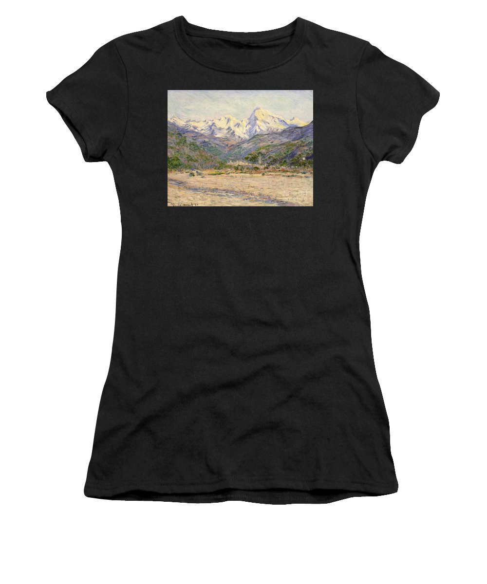 The Valley Of The Nervia Women's T-Shirt (Athletic Fit) featuring the painting The Valley Of The Nervia, 1884 by Claude Monet