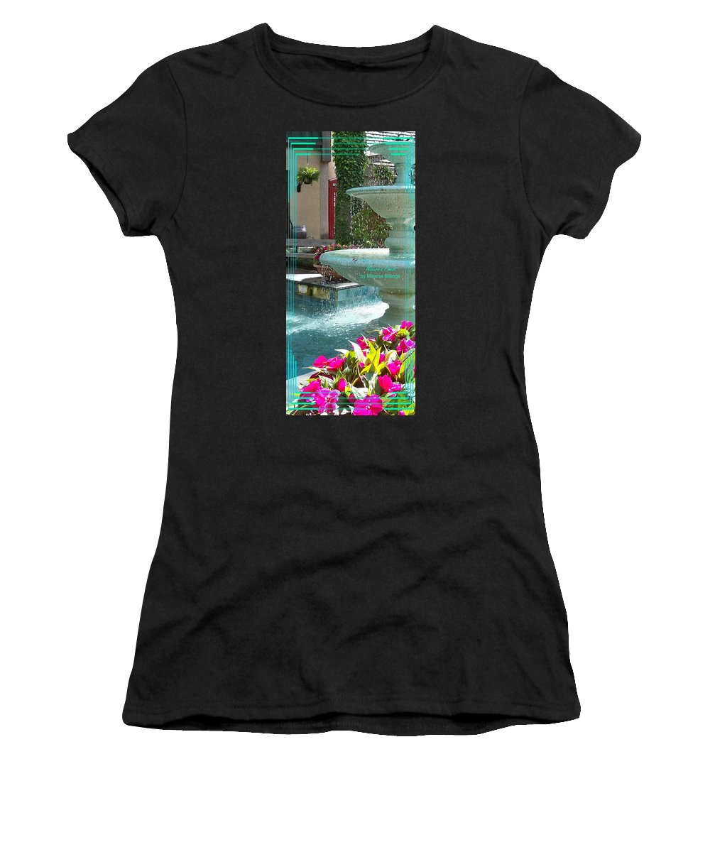 Water Fountain Women's T-Shirt (Athletic Fit) featuring the photograph The Village At Gatlinburg by Maxine Billings