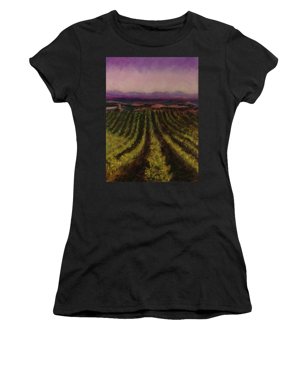 Landscape Women's T-Shirt (Athletic Fit) featuring the pastel The Vineyard by Pat Snook