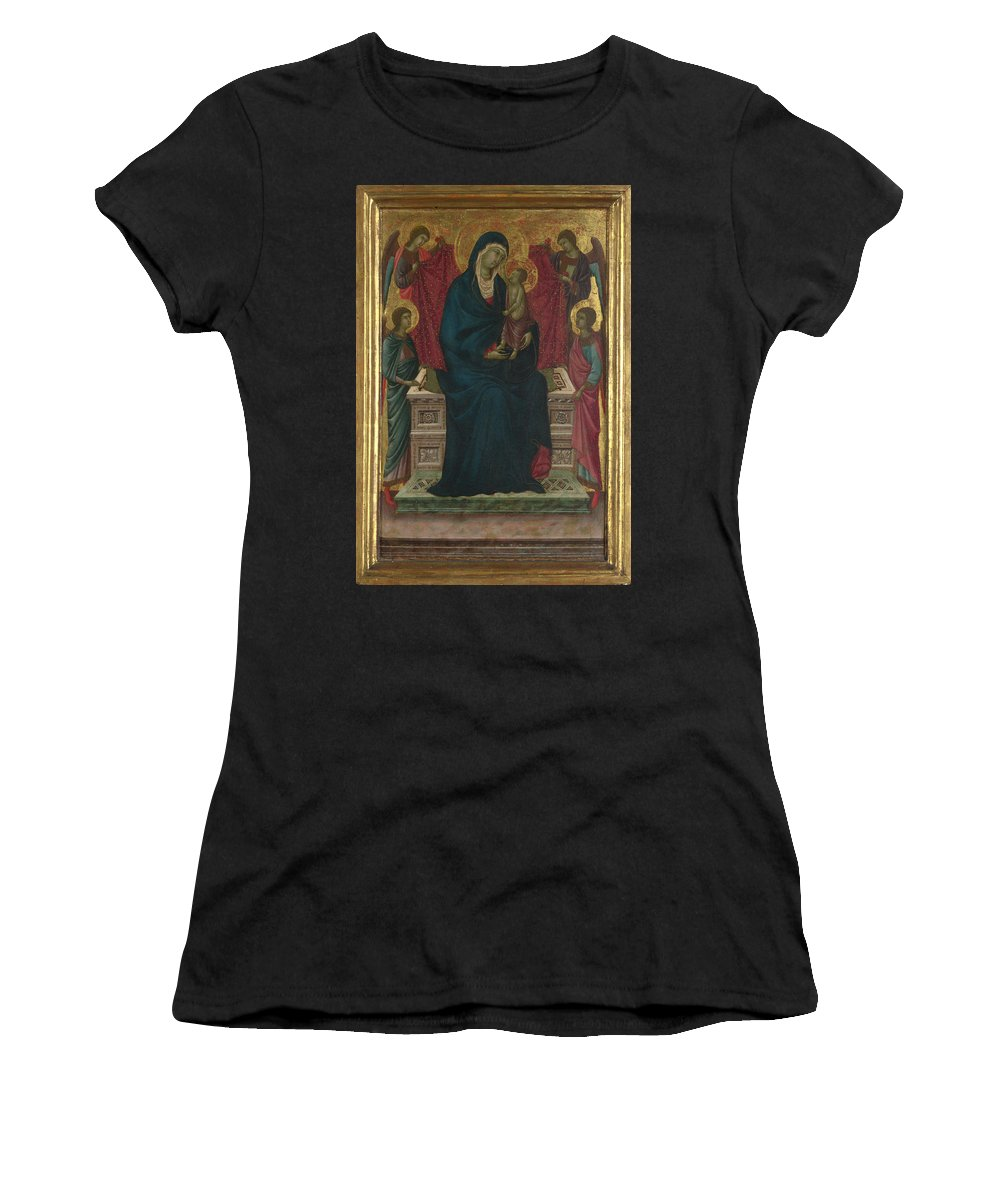 Follower Women's T-Shirt (Athletic Fit) featuring the digital art The Virgin And Child With Four Angels by PixBreak Art