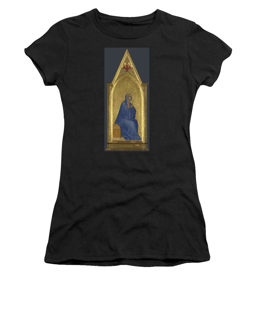 Giovanni Women's T-Shirt (Athletic Fit) featuring the digital art The Virgin  Left Pinnacle Panel by PixBreak Art