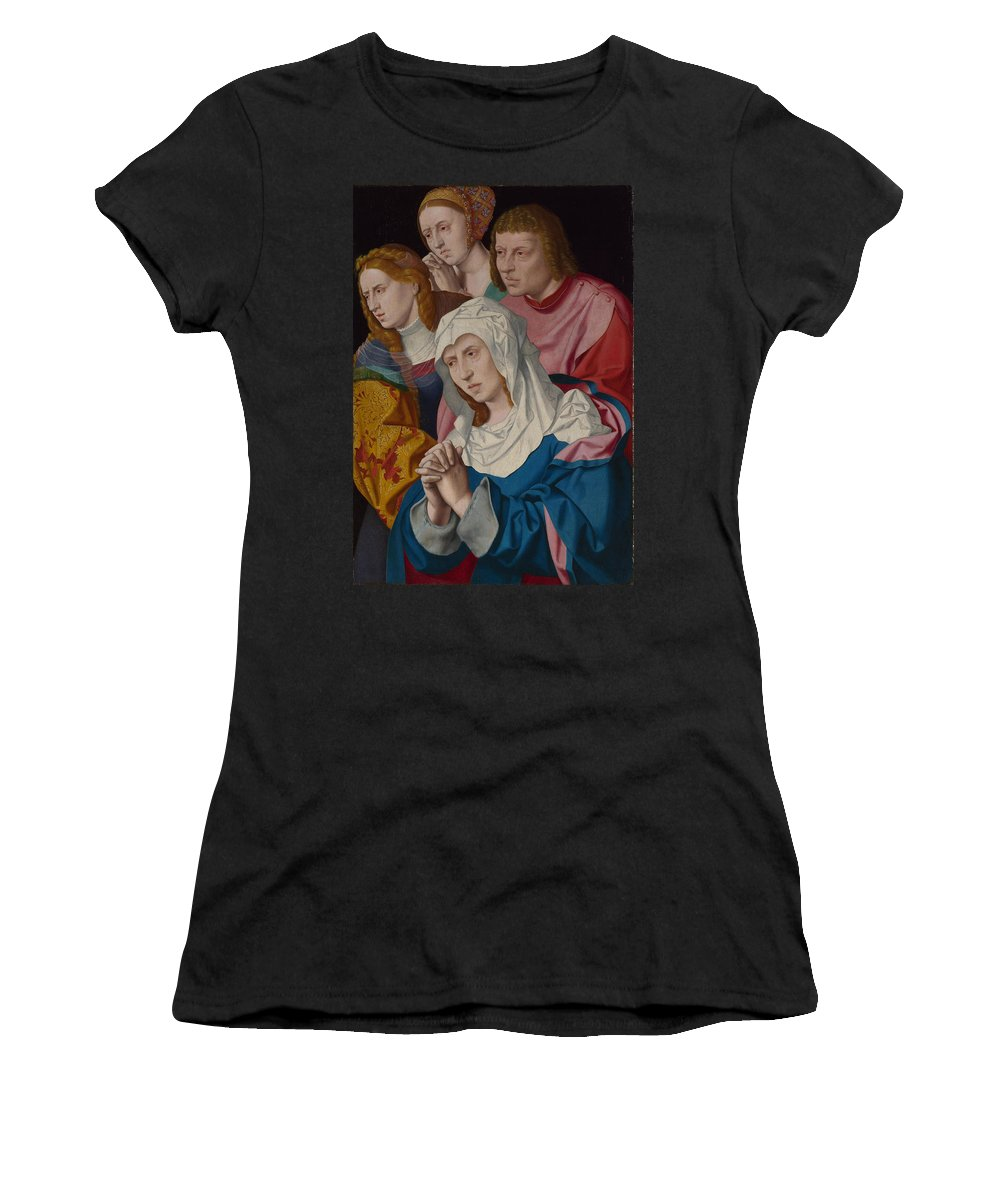 Bartholomeus Women's T-Shirt (Athletic Fit) featuring the digital art The Virgin Saints And A Holy Woman by PixBreak Art