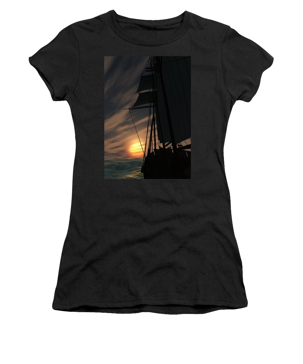 Ships Women's T-Shirt (Athletic Fit) featuring the digital art The Voyage Home by Richard Rizzo