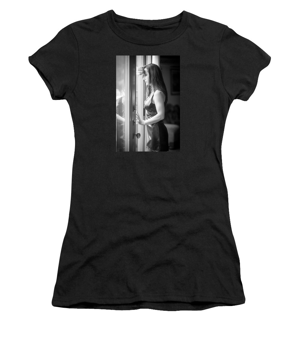 Woman Women's T-Shirt (Athletic Fit) featuring the photograph The Wait by Douglas Lally