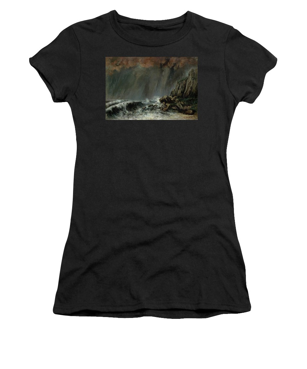 Marine - The Waterspout By Gustave Courbet Women's T-Shirt (Athletic Fit) featuring the painting The Waterspout by Gustave Courbet