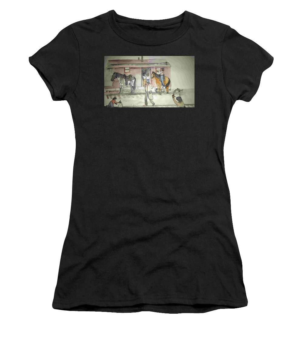 Western. Train. Robbery. Horses. Women's T-Shirt (Athletic Fit) featuring the painting The West. Wild And Women by Debbi Saccomanno Chan