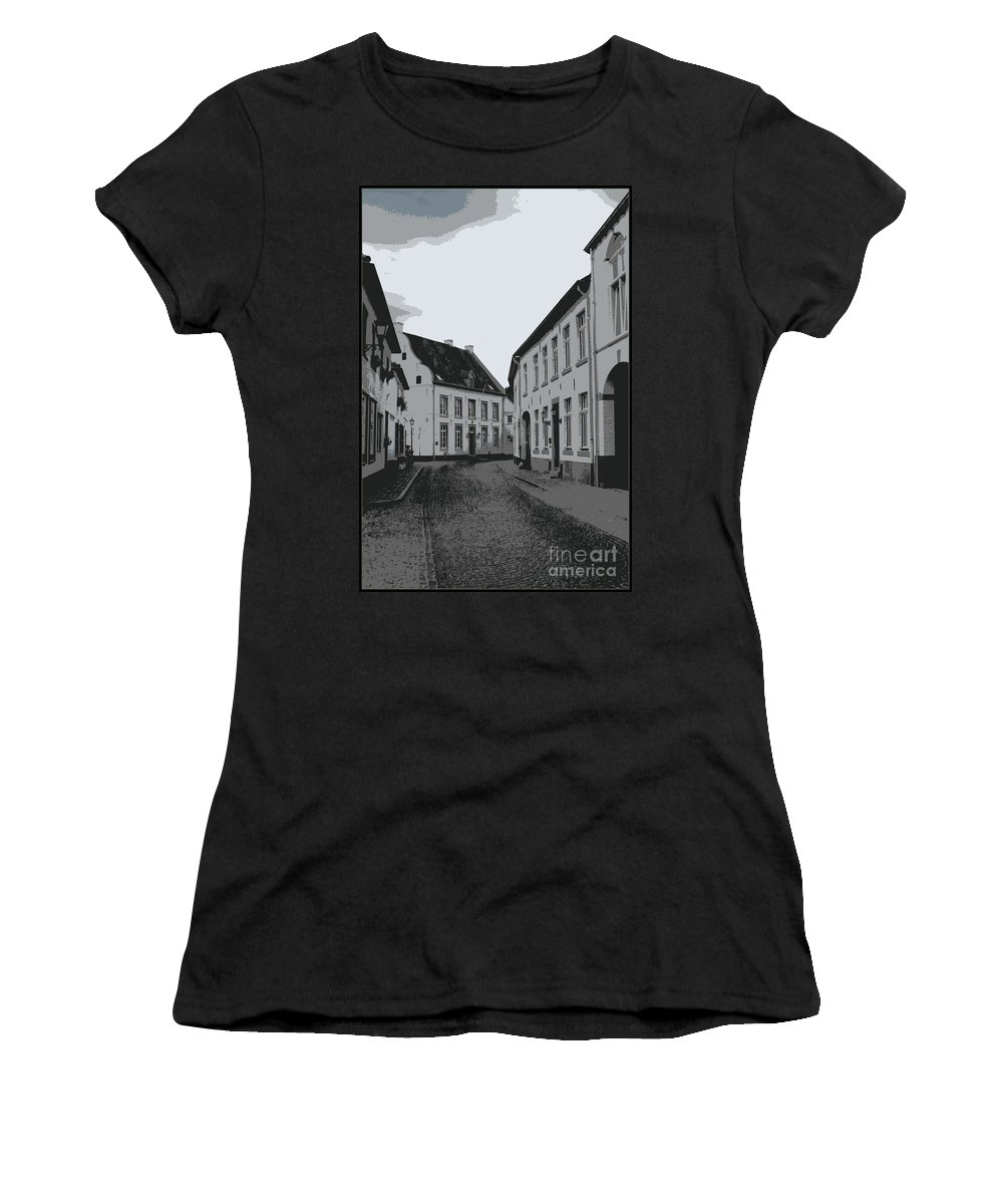 Gray And White Women's T-Shirt (Athletic Fit) featuring the photograph The White Village - Digital by Carol Groenen