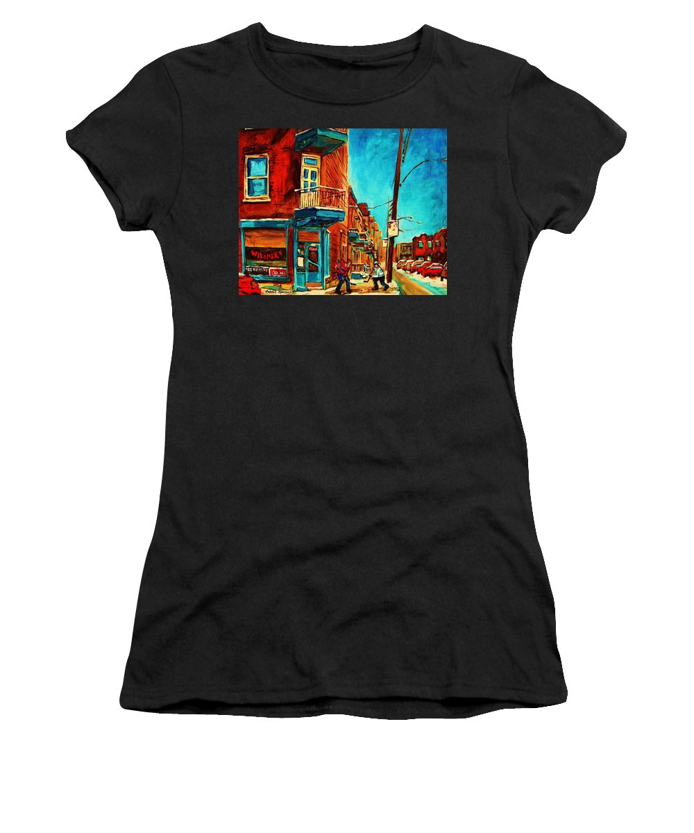 Wilenskys Doorway Women's T-Shirt (Athletic Fit) featuring the painting The Wilensky Doorway by Carole Spandau