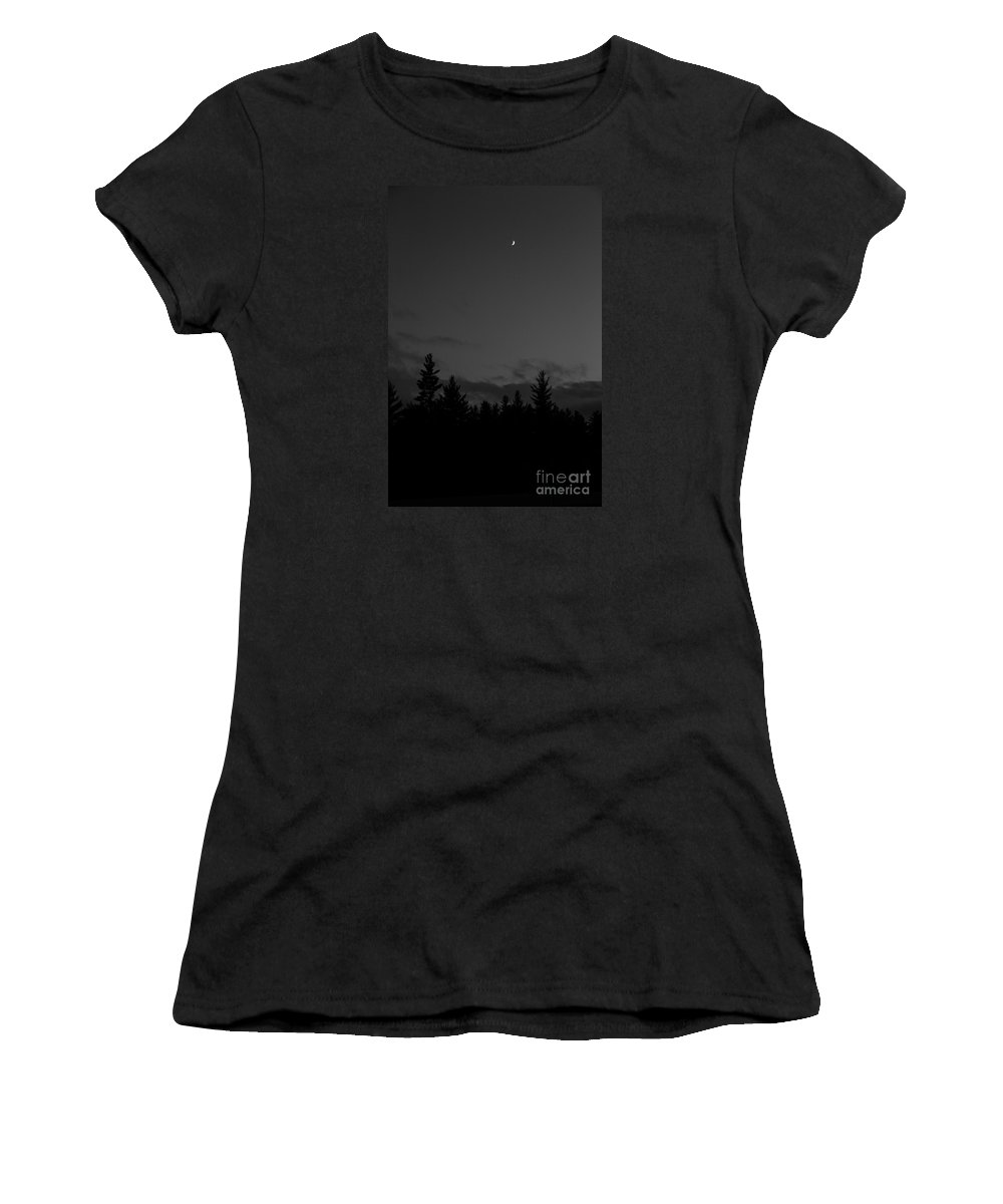 Moon Women's T-Shirt (Athletic Fit) featuring the photograph The Woods And The Moon 4 Black And White by Marina McLain